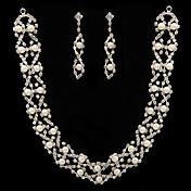blanco perla de dos piezas brillantes conjunto señoras joyería (45 cm)