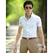 男性用 プレイン オフィス シャツ,半袖 ブラック / ブルー / ピンク / レッド / ホワイト