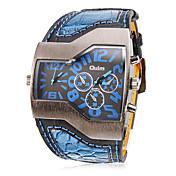 Oulm 男性 軍用腕時計 リストウォッチ 2タイムゾーン クォーツ PU バンド ブラック 白 ブルー レッド 黄色
