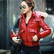 Lewen Red Casual chaqueta con el cuello de piel corto