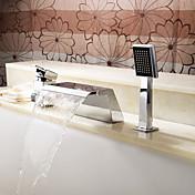 コンテンポラリー ローマンバスタブ 滝状吐水タイプ ハンドシャワーは含まれている with  セラミックバルブ 三つ シングルハンドル三穴 for  クロム , 浴槽用水栓