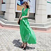 De las mujeres Corte Swing Vestido Fiesta Estampado Maxi Escote Cruzado Raso