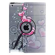En forma de corazón patrón de flores de 360 grados giratoria cuero de la PU caso completo del cuerpo con el soporte para iPad 2/3/4