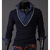 Hombres INMUR Moda Azul marino cuello en V de dos piezas de igual Tops tejer