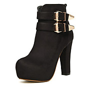 CRAPE MYRTLE Women's Buckle Thick High Heel Ankle Boots Black