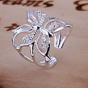 指輪 結婚式 日常 ジュエリー クリスタル 女性 婚約指輪 1個,調整可 シルバー