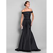 Sirena / trompeta off-the-hombro barrido / cepillo de tren vestido de noche de tafetán con arrugas de ts couture ®