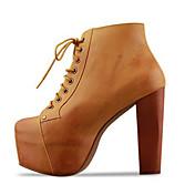 So Kull Frauen Brown Platform Blockabsatz Schnürschuhe Stiefeletten