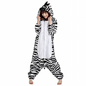 Kigurumi Pyžama Zebra Leotard/Kostýmový overal Festival/Svátek Animal Sleepwear Halloween Černá bílá Patchwork polar fleece Kigurumi Pro