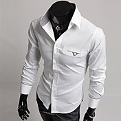 Camisa De los hombres Casual-Mezcla de Algodón-Manga Larga-Negro / Blanco