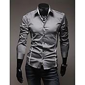 男性用 プレイン カジュアル シャツ,長袖 ポリエステル ブラック / ホワイト / グレー