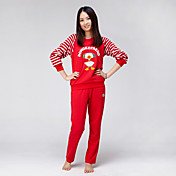 Domoko Familia Amueblada madre de manga larga Tops y Pantalones (rojo) _DMK-06
