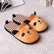 Guosheng Leuke Strepen Panda Soft Slippers (Koffie) (36/37 = 37,38 / 39 = 39,40 / 41 = 41)