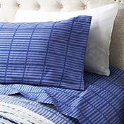 """Juego de sábanas ,4-pieza de microfibra a rayas de color azul oscuro con un 12 """"Profundidad de bolsillo"""