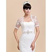Envolturas de boda Boleros Manga corta Encaje Marfil / Blanco Boda / Fiesta / Informal Camiseta Abertura frontal