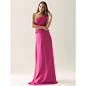 Lanting Floor-length Chiffon / Satin Bridesmaid Dress - Fuchsia Plus Sizes / Petite Sheath/Column One Shoulder