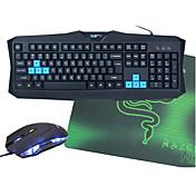 v90 usb cable teclado de juego impermeable opcional + ratón + alfombrilla de ratón