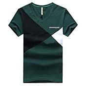 Camiseta De los hombres Bloques-Casual-Algodón-Manga Corta-Azul / Verde / Rojo / Amarillo