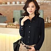 ORG女性の韓国語バージョン襟シフォンシャツスタンド