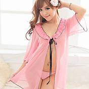 驚くべき美しさの透明シャツとTバック(ピンク)-8016