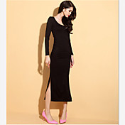 Vestidos (Tejido romano)- Casual Redondo Manga Larga para Mujer