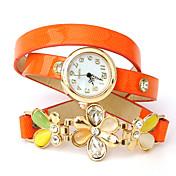 UフラワープリントPUレザー包まれたブレスレットの腕時計をあえて