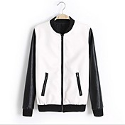 Women's Fashion Stand Collar Long Sleeve PU Leather Jacket