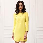 レディース ワーク ドレス,ソリッド 膝上 長袖 ポリエステル 秋 伸縮性あり スモーキー ミディアム