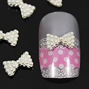 10ks bílá perla motýlek 3d kutilství slitina nail art dekorace