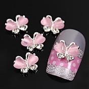 10ks létající motýl s růžovým kočičí oko kámen 3d slitina nail art zdobení