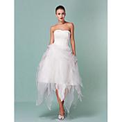 lanting novia una línea / princesa pequeña / más el tamaño de la boda vestido de novia de organza asimétrica-