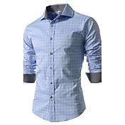 男性用 プリント / ストライプ / チェック カジュアル / プラスサイズ シャツ,長袖 コットン