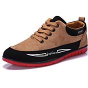 メンズ コンフォートシューズ 硫化鞋(胶底鞋) レザーレット 春 夏 秋 冬 カジュアル コンフォートシューズ 硫化鞋(胶底鞋) 編み上げ フラットヒール ブラック ブルー イエロー 1インチ以下