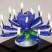 plástico de giro musical del cumpleaños de la vela de la flor