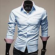 Camisa De los hombres Un Color Trabajo / Formal-Mezcla de Algodón-Manga Larga-Negro / Azul / Rojo