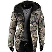 メンズカジュアルファッション肥厚迷彩フード付きの綿緩いコート