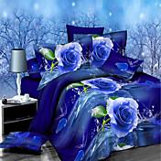 Shengyue 3d floral print ropa de cama de cuatro piezas