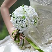 ウェディングブーケ ラウンド型 バラ ブーケ 結婚式 パーティー ・夜 シルク 6.69inch(約17cm)