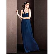 vaina / columna una longitud del piso del hombro vestido de dama de honor de seda con draping ruching by lan ting bride®