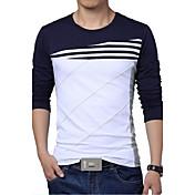 Camiseta De los hombres Un Color-Casual / Tallas Grandes-Algodón / Poliéster-Manga Larga-Azul / Blanco