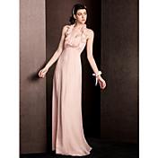 vaina / columna halter piso de seda vestido de dama de honor con volantes de drapeado lan ting novia ®