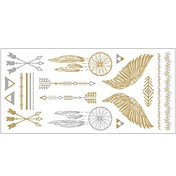 1pc oro y plata metálico collar pulsera tatuaje pegatina