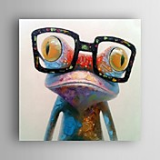 Pintada a mano Animal Pop Cuadrado,Modern Un Panel Lienzos Pintura al óleo pintada a colgar For Decoración hogareña