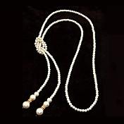 evropském stylu high-kvalitní imitace perel jednoduchý dlouhý náhrdelník (více barev)