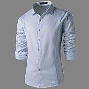 男性用 プレイン カジュアル シャツ,長袖 コットン混
