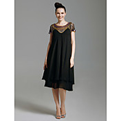 Homecoming Cocktail Party/Prom/Holiday Dress - Black Sheath/Column Scoop Knee-length Chiffon/Tulle