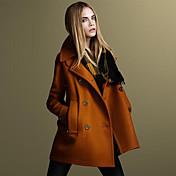 kakani女性のヨーロッパのファッション長袖ツイードコート