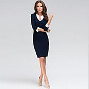 ワーク シース ドレス,ソリッド アシメントリー 膝丈 ハーフスリーブ ブルー 夏 マイクロエラスティック 薄手