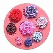 8つの異なるパターンサイズのバラの花のチョコレートケーキの型