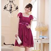 Vestido cuadrado de la dama de honor de la gasa de la longitud de la rodilla del cuello de la princesa por la manera de Hua Cheng